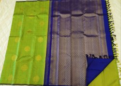 Lime Green & Strong Blue Color Silk Saree