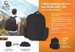 Folding Backpack With Hard Case With Double Shell