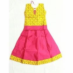 Pink and Yelloe Women Kids Girls Party Wear Frocks