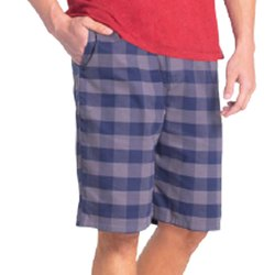 Knee Length Cotton Jockey Men Navy & Grey Woven Bermuda, Cross Side Pockets