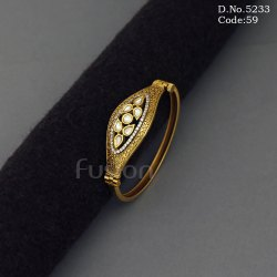 Handmade Openable Kundan Ad Brass Bracelet Kada