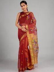 Bunkaar Festive Wear Jamdani Silk Handloom Saree, 6.3 m (with blouse piece)