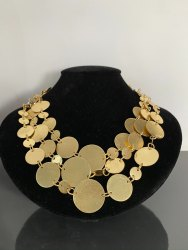 Gold Brass Coin Necklace, Statement Gold Necklace, Designer Jewelry, Brass Jewelry