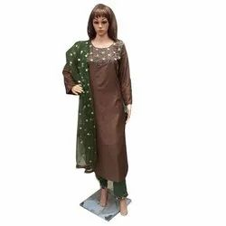 Embroidered Ladies Party Wear Malai silk Pencil Pant Suits
