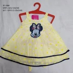 MICKY MOUSE PRINTED SLEEVES LESS LONG FROCK FOR GIRLS