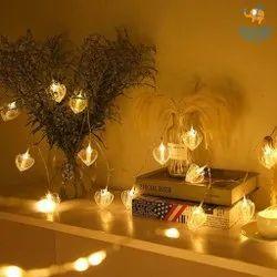 8L 2.4m 8cm Heart Silver Wire Light