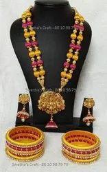 Swetha's Craft Customisation Golden Anrtique Silk Thread Necklace Set In Coimbatore, Box