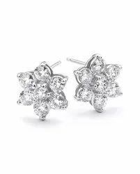 0.80 Ctw. Moissanite Diamond Flower Earrings 14K White Gold