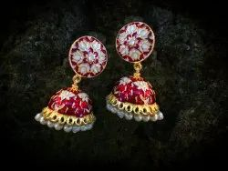 Golden Traditional Kundan meenakari Earring
