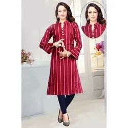 Ladies Striped Rayon kurti, Machine Wash, Size: Xxl