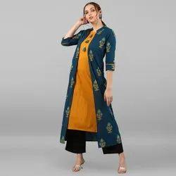 Janasya Women's Multicolor Pure Cotton Kurta(JNE2303)
