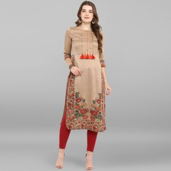 Janasya Women's Light Brown Poly Silk Kurta(JNE2305)