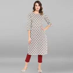 Janasya Women's White Pure Cotton Kurta(JNE3445)
