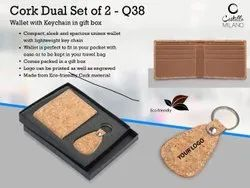 Cork Dual Set: Wallet With Keychain In Gift Box
