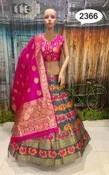 Gray and Pink Banarasi silk  lehenga choli