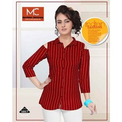 Shoulder Cut Red Ladies Lining Rayon Shirt