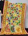 Peacock Embroidered Phulkari Dupatta - Madhubani Work Dupatta - Phoolkari  Stole