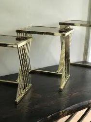taksh enterprise golden Metal side table, For Indoor, Size: 18 Inch