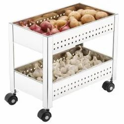 Silver Stainless Steel Plantex 2 Tier Onion Garlic Trolley, Size/Dimension: 40.5 X 36 X 22.5 Cm, Model Name/Number: APS-1472