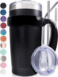 Triple Insulated Stainless Steel Tumbler 20 oz Black Coffee Travel Mug With Handle