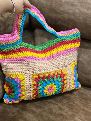 Multicolor Shoulder Bag Hand Knitted/ Crochet Bags, Size: Various Sizes