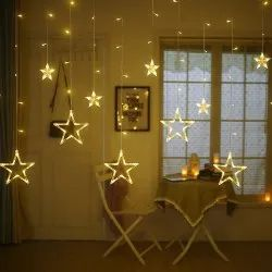 10 Stars Curtain, Window String Lights For Christmas, Wedding, Party, Home, Patio Lawn - Warm White
