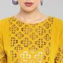 Janasya Women's Mustard Poly Crepe Kurta(JNE3365)