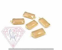 Peach Moonstone Gemstone Bezel Connectors