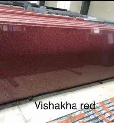 Polished Vishakha Red Granite Slab, For Flooring, Thickness: 15 mm