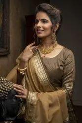 Linen Silk saree with Zari Temple