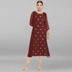 Janasya Women's Brown Poly Crepe Kurta(JNE3458)