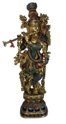 Nirmala Handicrafts Brass Standing Hindu God Krishna Stone Work Statue For Home Decor 30