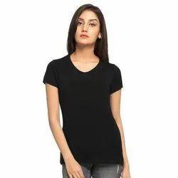 Round Black Ladies Cotton Half Sleeve T Shirt, Size: XL