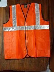 Unisex Orange REFLECTIVE JACKETS WITH 2 INCH TAPE, Size: Free Size