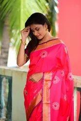 Party Wear Border Silk Zari Work Sarees, 6 m (with blouse piece)