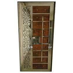 Wooden And Stainless Steel Safety Door, Size: 7*3 Feet