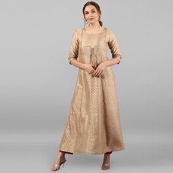 Janasya Women's Beige Poly Silk Kurta(JNE2270)