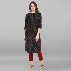 Janasya Women's Black Pure Cotton Kurta(JNE3423)