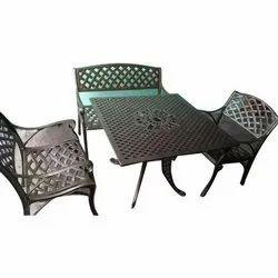 Warsi Metals Aluminium Cast Aluminum Three Chair Set