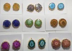 Agate Stone Druzy Gemstone Stud Earrings/Dangle & Drop Earrings/ Slice Earrings