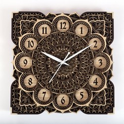JD Multi Multicolor JDC003 Multilayer Wood Finish Decorative Wall Art Clock, Size: 12x12 Size