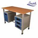 Wooden, Steel Rectangular Steel Office Table