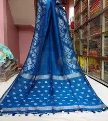 Casual Printed LINEN SAREE, 5.5 m (separate blouse piece)