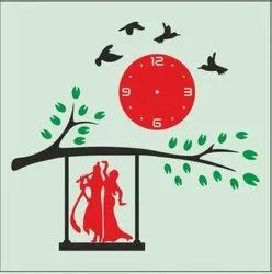 Red Analog Art Wall Clock, For Home