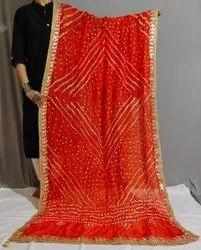 Indian Silk Gota Patti Border Bandhani Dupatta