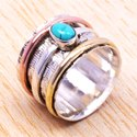 Handmade 925 Sterling Silver And Brass Jewelry Turquoise And Carnelian Gemstone Ring SJWR-72