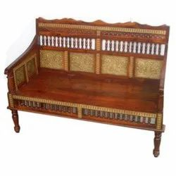 Ethnic India Rectangular Wooden Brass Fitted Sofa Spindle, Living Room, Size: 120 X 90 X 60 cm