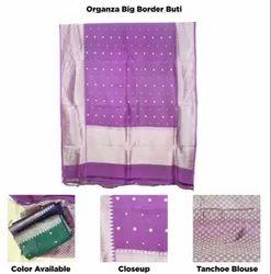 Organza Silk Big Border Buti Saree, With blouse piece, 6.5 Meter
