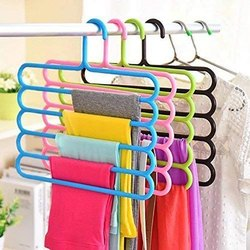 Multicolor Plastic 5 Layer Hangers, For Hanging Clothes, Size: Regularer