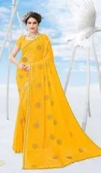 Yellow Color Designer Chiffon Saree